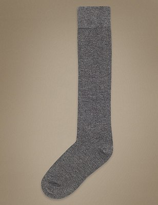Supersoft Knee High Socks 2 Pair Pack, GREY, catlanding