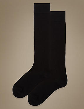 Supersoft Knee High Socks 2 Pair Pack, BLACK, catlanding