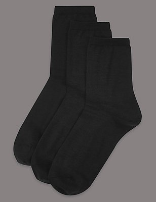 3 Pair Pack Body Sensor™ Ankle High Socks, BLACK, catlanding