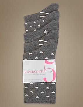 Lot de 5paires de chaussettes ultra-douces assorties, GRIS ASSORTI, catlanding