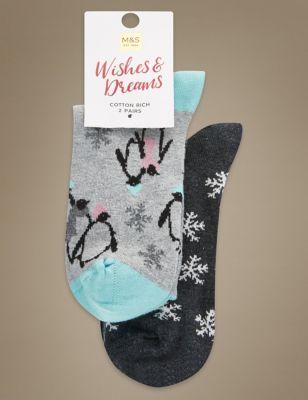 Яркие хлопковые носки Wishes&Dreams с зимним дизайном