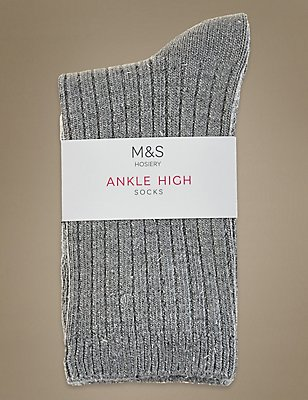 Sparkle Ankle Socks with Silver Technology, GREY MIX, catlanding