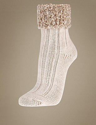 Boucle Cuff Ankle High Socks, OATMEAL MIX, catlanding
