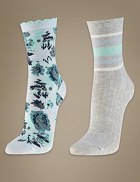 2 Pair Pack Ankle High Floral Socks, LIGHT BLUE MIX, catlanding