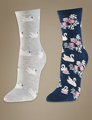 2 Pair Pack Cotton Rich Ankle High Socks, NAVY MIX, catlanding