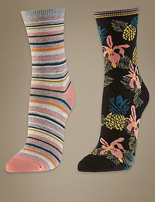 2 Pair Pack Cotton Rich Ankle High Socks, PINK MIX, catlanding