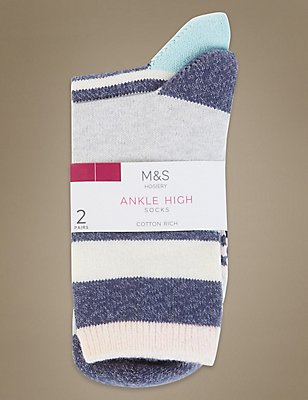 2 Pair Pack Striped Heavy Weight Ankle High Socks, GREY MIX, catlanding