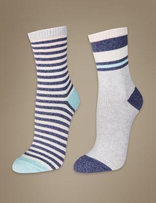 Плотные хлопковые носки мелкой вязки в полоску (2 пары)