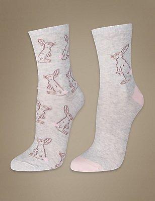2 Pair Pack Printed Ankle High Socks, GREY MIX, catlanding