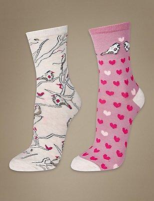 2 Pair Pack Printed Ankle High Socks, PINK MIX, catlanding
