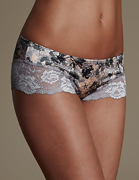 Sensual Sheen Printed Low Rise Shorts