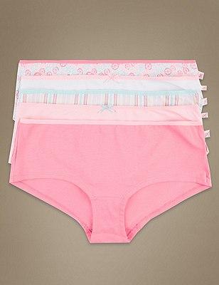 5 Pack Cotton Rich Assorted Low Rise Shorts, ORANGE MIX, catlanding