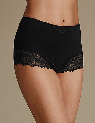 Isabella Cotton Blend High Waist Brazilian Knickers, BLACK, catlanding