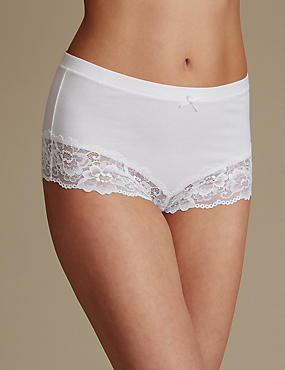 Isabella Cotton Blend High Waist Brazilian Knickers, WHITE, catlanding