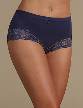 No VPL Cotton Rich Brazilian Knickers, INDIGO, catlanding
