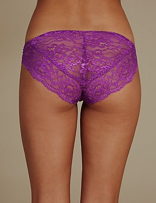 All Over Lace High Leg Knickers, BRIGHT MAGENTA, catlanding