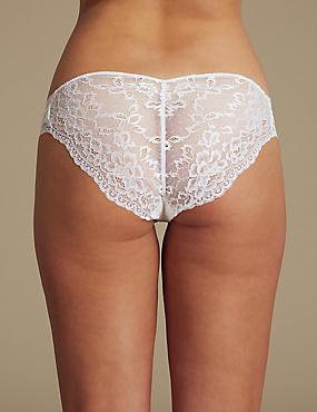 Louisa Lace High Leg Knickers, WHITE, catlanding