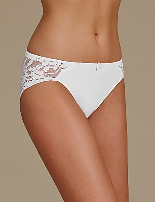 Ornate Lace High Leg Knickers, WHITE, catlanding