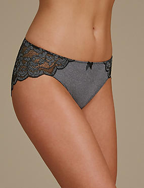 Ornate Lace High Leg Knickers, GREY MARL, catlanding