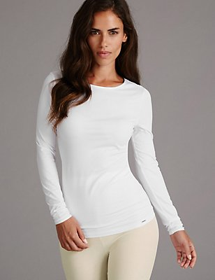 Long Sleeve Vest Top with Modal, WHITE, catlanding