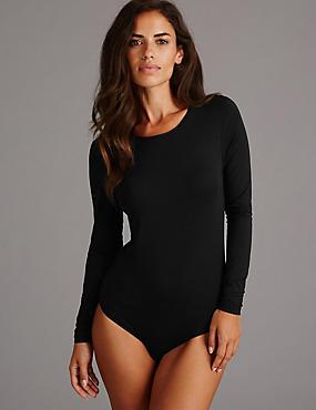 Long Sleeve Body with Modal, BLACK, catlanding