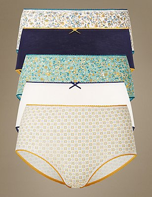 5 Pack Cotton Rich Midi Knickers, INDIGO MIX, catlanding