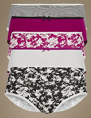 5 Pack Cotton Rich Midi Knickers, MAGENTA MIX, catlanding
