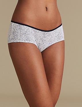 5 Pack Cotton Low Rise Shorts, YELLOW MIX, catlanding