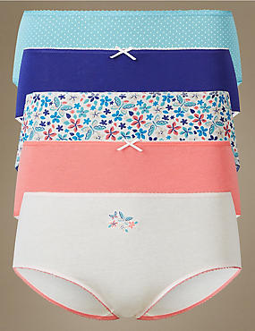 5 Pack Cotton Rich Midi Knickers, TURQUOISE MIX, catlanding
