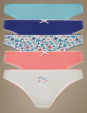 5 Pack Cotton Rich Thong, TURQUOISE MIX, catlanding