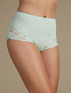Cotton Rich Lace Cuffed Full Briefs, SAGE, catlanding
