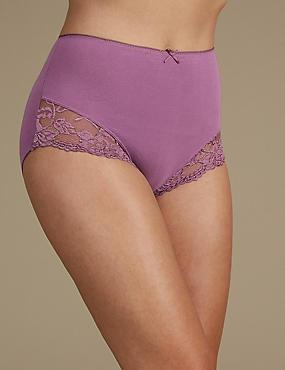 Cotton Rich Lace Cuffed Full Briefs, DEEP MAUVE, catlanding