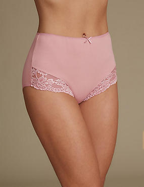 Cotton Rich Lace Cuffed Full Briefs, ANTIQUE PINK, catlanding