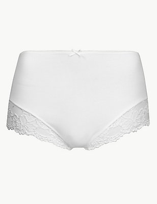 Cotton Rich Lace Cuffed Full Briefs, WHITE, catlanding