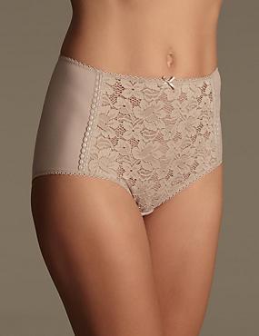 Cotton Blend Front Lace Full Briefs, FAWN, catlanding