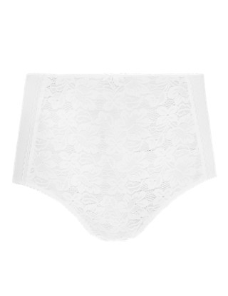 Cotton Blend Lace High Rise Full Briefs Clothing