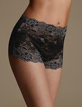 Two Tone All Over Lace Full Briefs, BLACK MIX, catlanding
