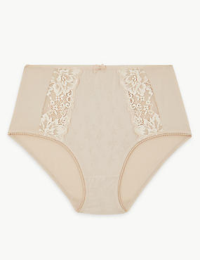 Jacquard Lace High Rise Full Briefs, ALMOND, catlanding