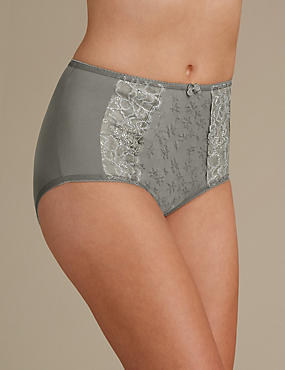 Jacquard Lace High Rise Full Briefs, SAGE GREEN, catlanding