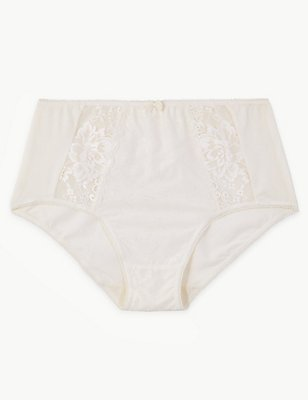 Jacquard Lace High Rise Full Briefs, CREAM, catlanding