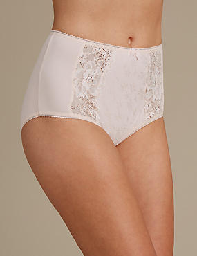 Jacquard Lace High Rise Full Briefs, PALE PINK MIX, catlanding