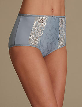 Jacquard Lace High Rise Full Briefs, GREY MIX, catlanding