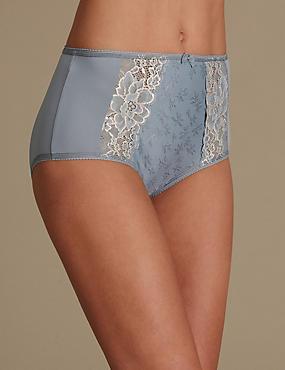 Culotte emboîtante taille haute ornée de dentelle jacquard, GRIS ASSORTI, catlanding