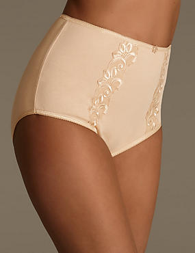 Cotton Rich Embroidered High Rise Full Briefs, NATURAL, catlanding