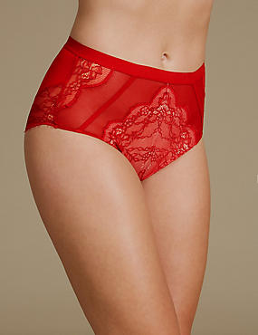 No VPL Eyelash Lace High Waisted Knickers , RED MIX, catlanding
