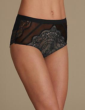Braguitas brasileñas de cintura alta deportivas cardadas, NEGRO, catlanding