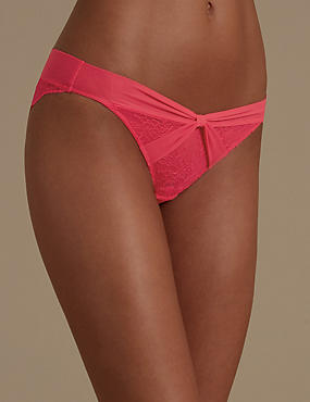 Bow Chantilly All Over Lace Bikini Knickers, HOT PINK, catlanding