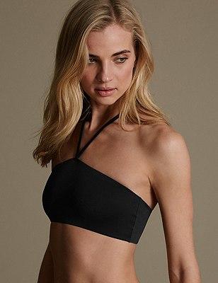 Fashion Street Halterneck Bandeau Vest, BLACK, catlanding
