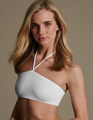 Fashion Street Halterneck Bandeau Vest, WHITE, catlanding