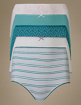 5 Pack Cotton Rich Full Brief Knickers, TURQUOISE, catlanding